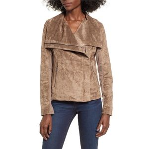 Blank NYC Legendary Faux Suede Tan Draped Front Moto Jacket Small